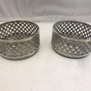 Pair of sterling silver wine coasters
