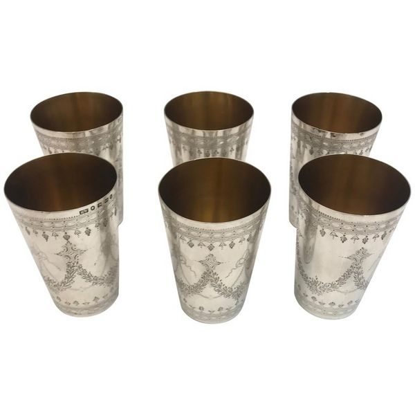 Set of 6 antique silver beakers