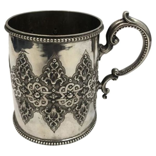 19th Century Decorative Silver Mug