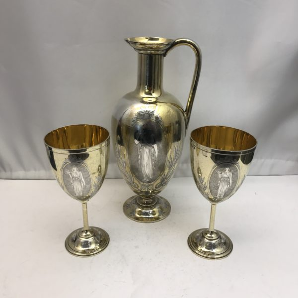 19th century Silver and Gilt Ewer with matching Goblets
