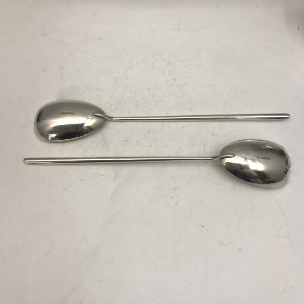 Pair of antique Silver salad servers 2