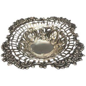 Antique Victorian Silver Pierced Dish