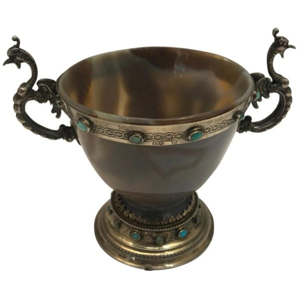 German Agate and Silver cup