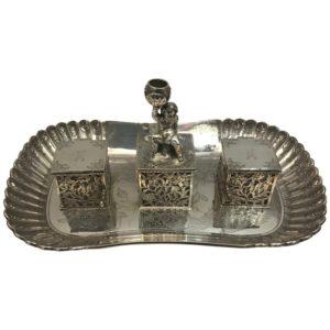 Decorative Silver Inkwell London, 1856