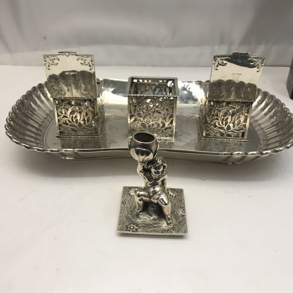 19th century Silver double inkwell 3