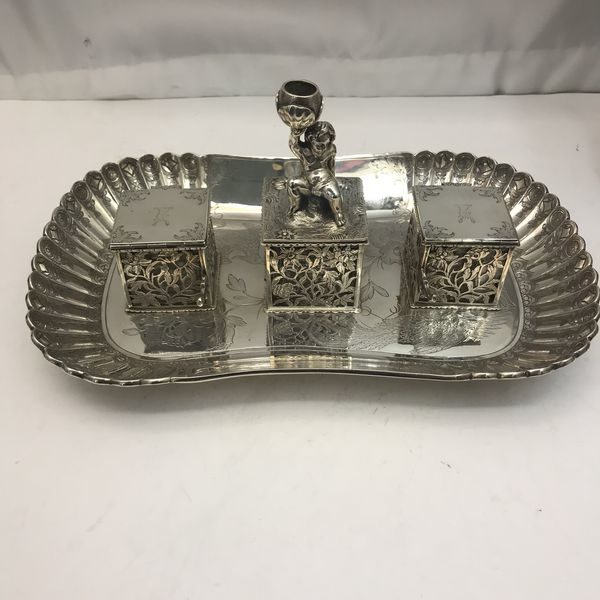 19th century Silver double inkwell