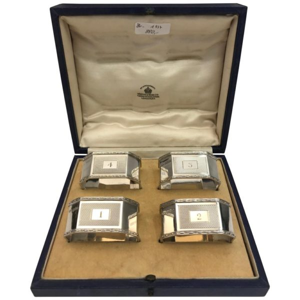 Antique Silver Napkin Rings with Original Box