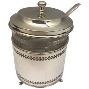 Antique Silver Pot with spoon and cover
