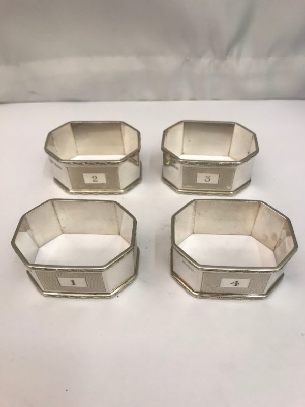 Four Antique Silver Napkin Rings, Made by Mappin & Webb 3