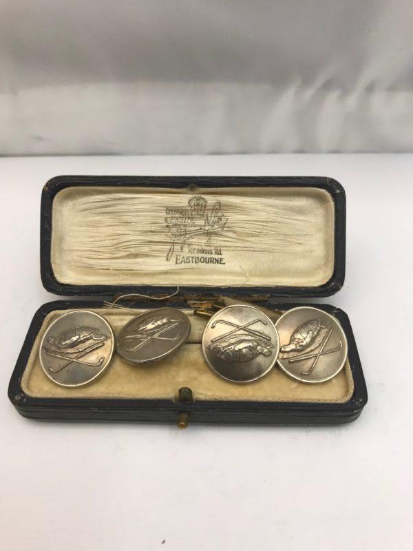 Antique Silver Buttons with original Box | Kalms Antiques