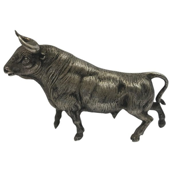 Midcentury Realistic Silver Plated Model of a Bull