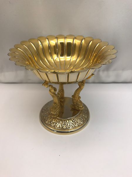 Silver gilt Tazza with three fishes holding the bowl