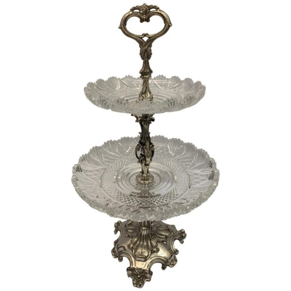 19th Century Large English Silver Plated Cake Stand