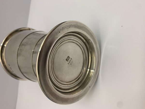 Engraved Silver Collapsable Drinking Beaker, circa 1900