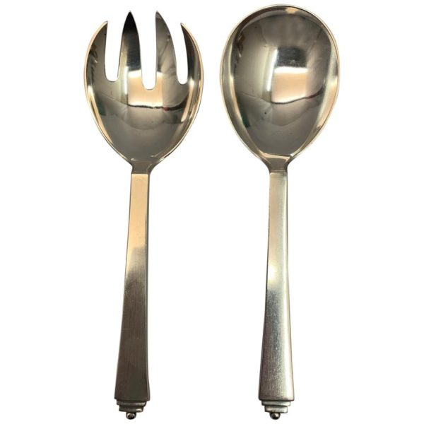 Pair of 20th Century Silver Pyramid Pattern Jensen Salad Servers