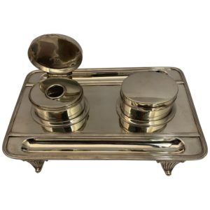 Victorian Silver Double Lidded Inkwell