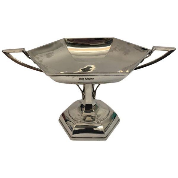 20th Century Hexagonal Silver Tazza by Walker and Hall