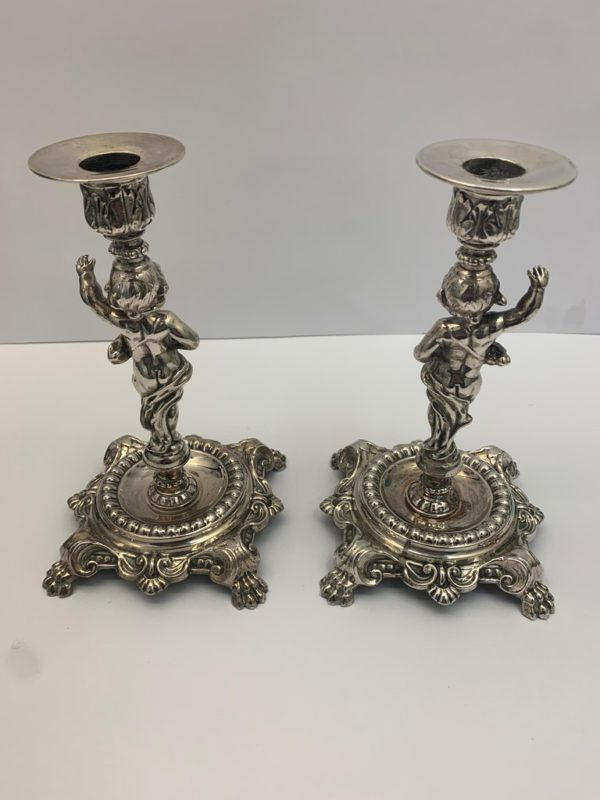Pair of 19th Century Silver Plate Candlestick Figures