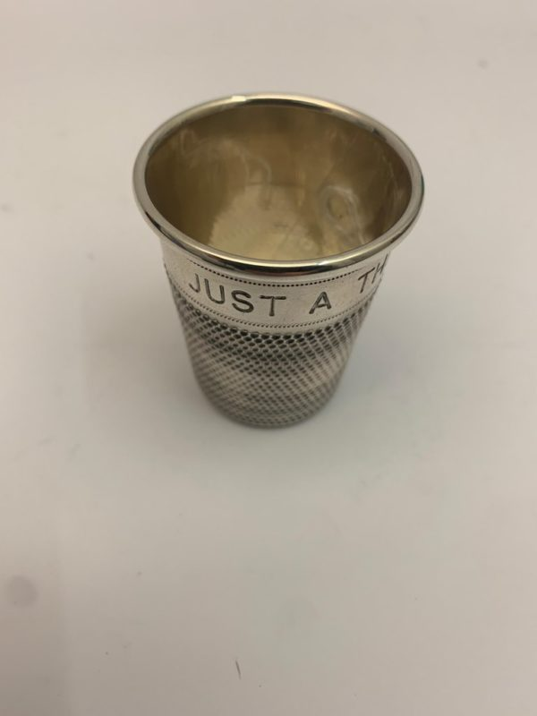 Small Silver Inscribed Thimble Cup