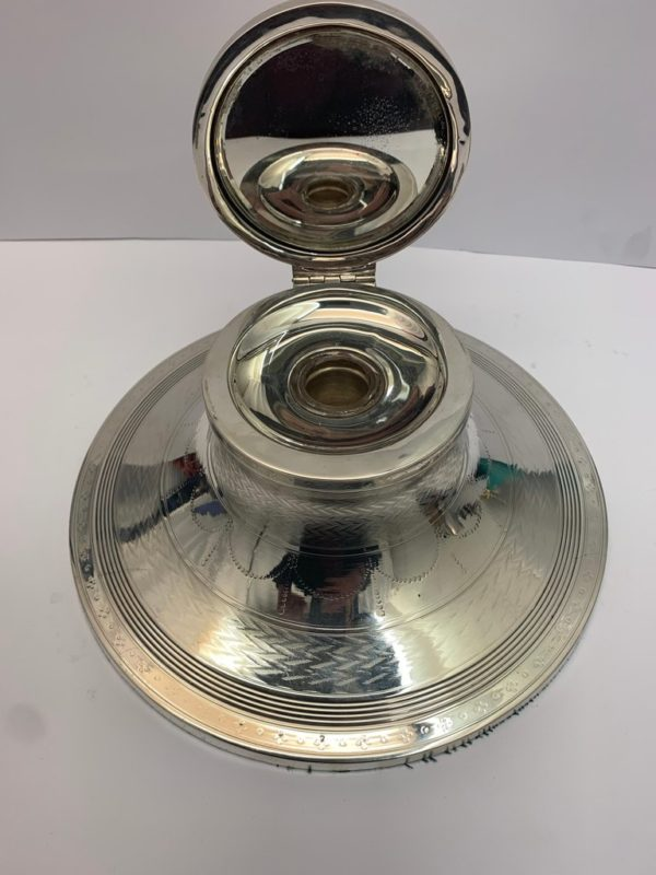 Large Silver Capstain Ink Stand