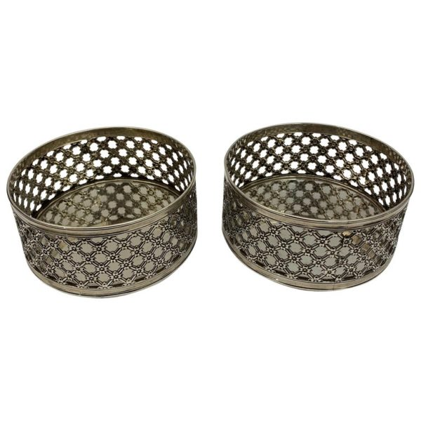 Pair of 19th Century English Pierced Silver Wine Coasters