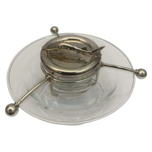 Contemporary English Silver and Glass Caviar Dish