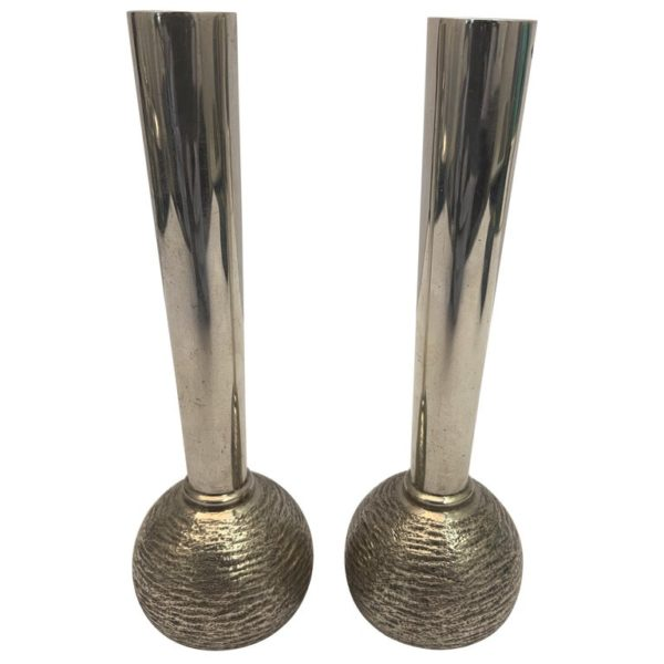 Pair of English Silver Slim Vintage Vases, 1973