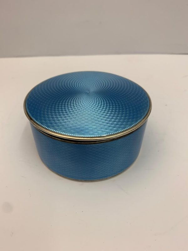 20th century Silver and blue enamel Oval Box - 2
