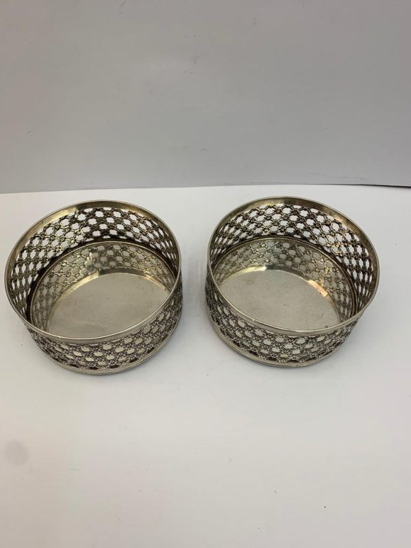 Pair of 19th Century English Pierced Silver Wine Coasters - Top view