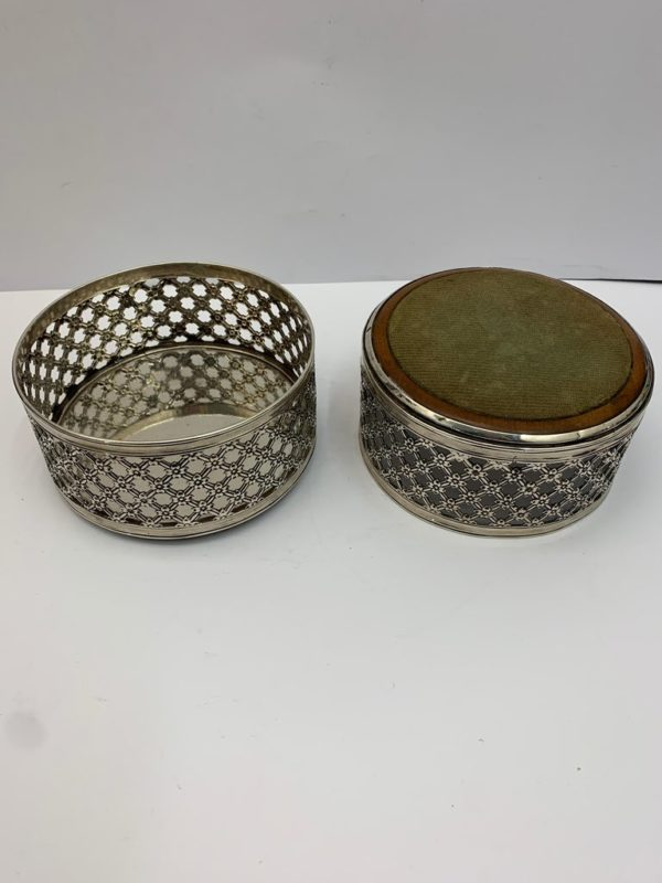 Pair of 19th Century English Pierced Silver Wine Coasters - bottom view