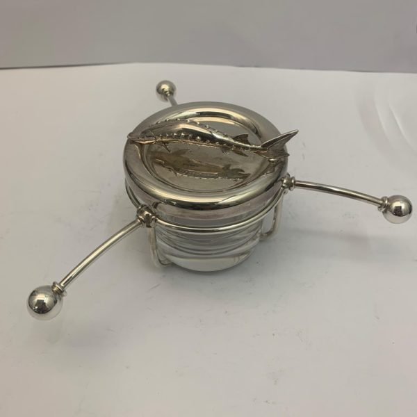 Contemporary English Silver and Glass Caviar Dish - bottom