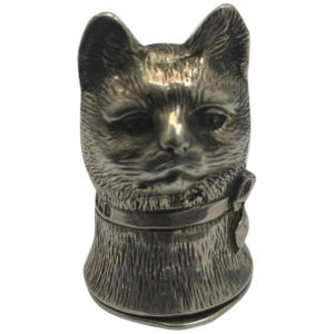 Silver Cat Vesta with Hinged Lid