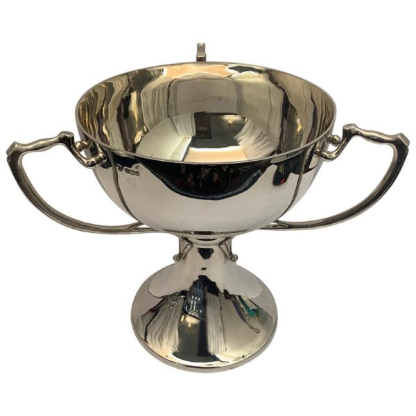 English Three Handled Silver Cup of Plain Design, 1908