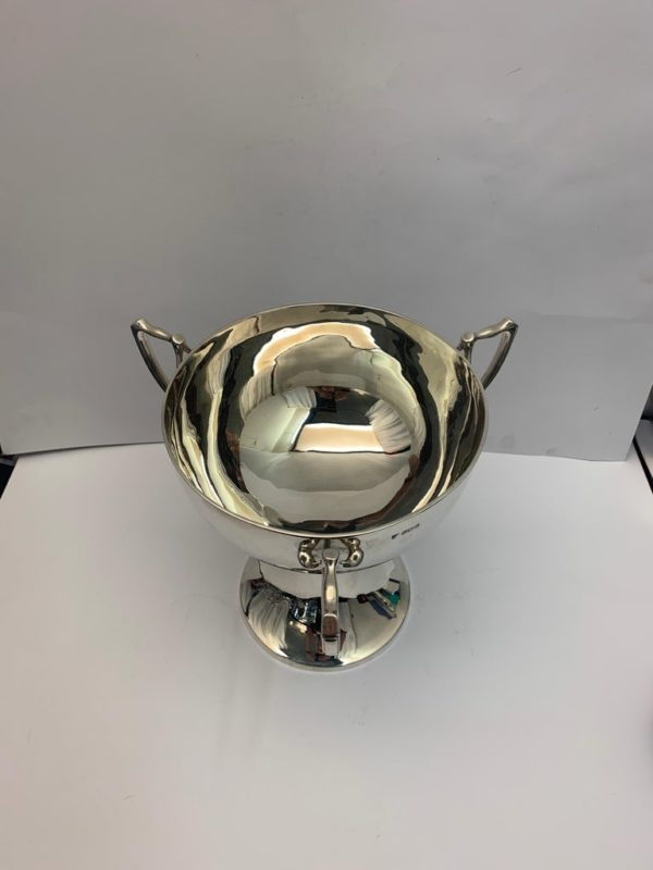 English Three Handled Silver Cup of Plain Design, 1908 - top view