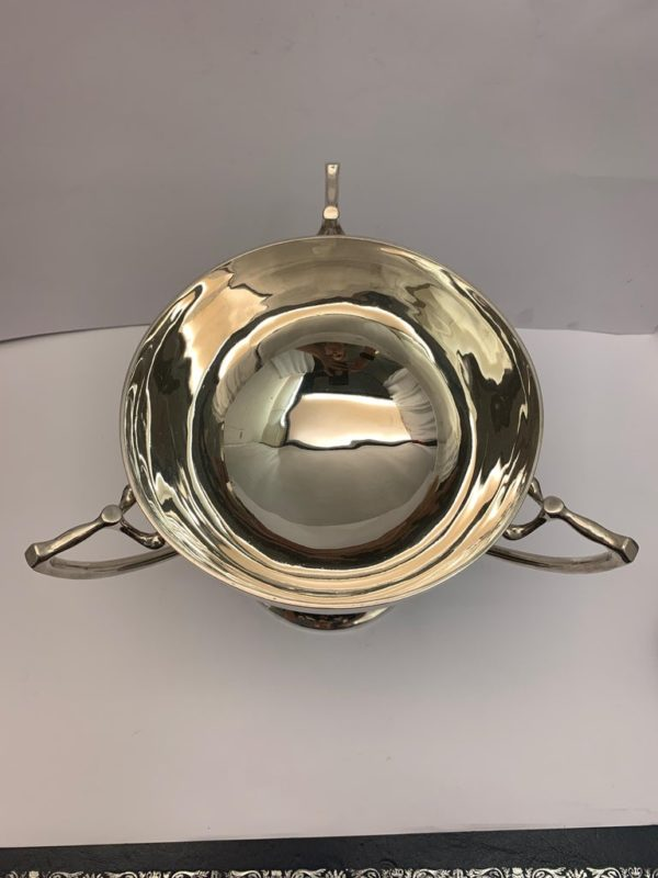 English Three Handled Silver Cup of Plain Design, 1908 - top view 2
