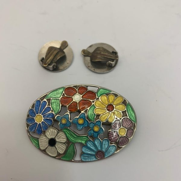 Silver and Floral Enamel Brooch and Clip-On Earrings Set - brooch