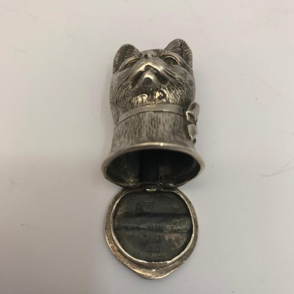 Silver Cat Vesta with Hinged Lid - open