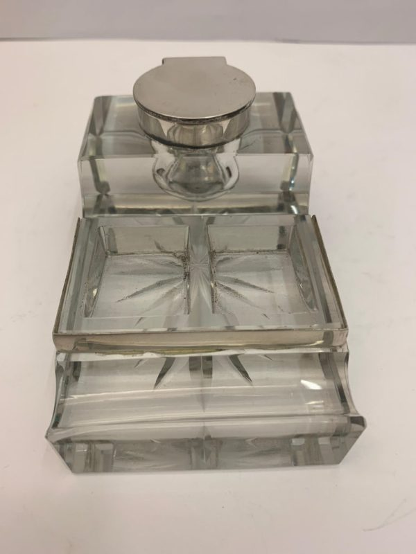 Glass and Silver Desk/Inkwell with Stamp Section - front