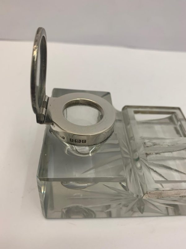 Glass and Silver Desk/Inkwell with Stamp Section - lid