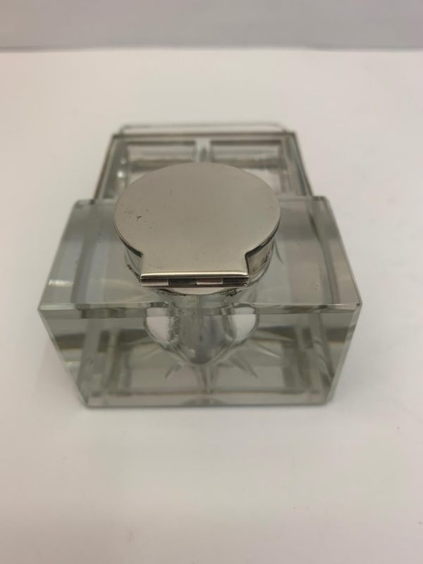 Glass and Silver Desk/Inkwell with Stamp Section - back