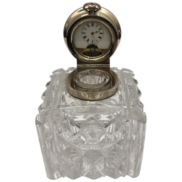 19th Century Glass and Silver Inkwell with a Clock in the Silver Lid