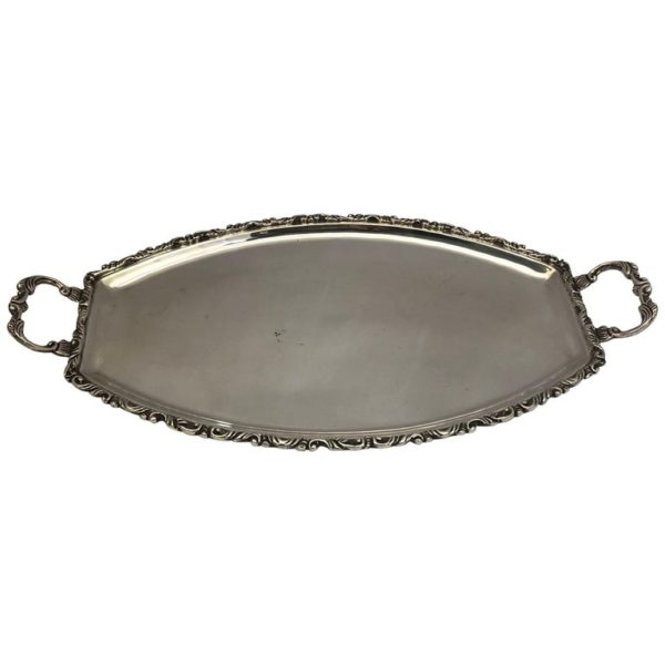 Silver Tray with Decorated Border and Handles, Hallmarked 925 Silver