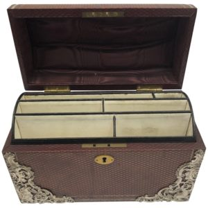 Brown Leather Stationary Box with Silver Decoration by Commyns, London