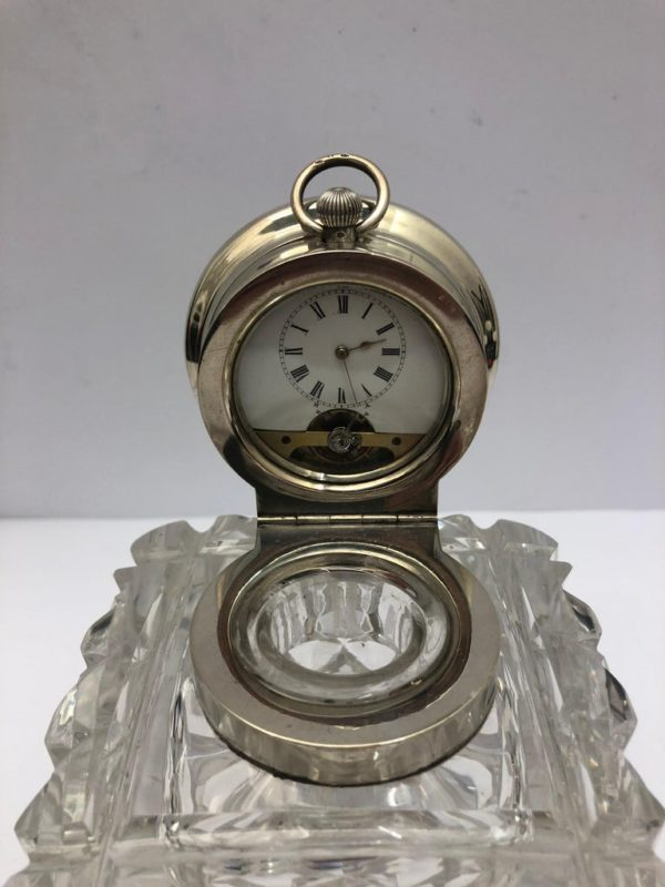 19th Century Glass and Silver Inkwell with a Clock in the Silver Lid - clock
