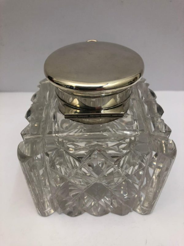 19th Century Glass and Silver Inkwell with a Clock in the Silver Lid - top