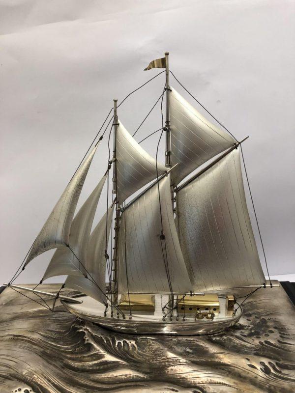 Silver Sailing Boat of Angus 5 sails