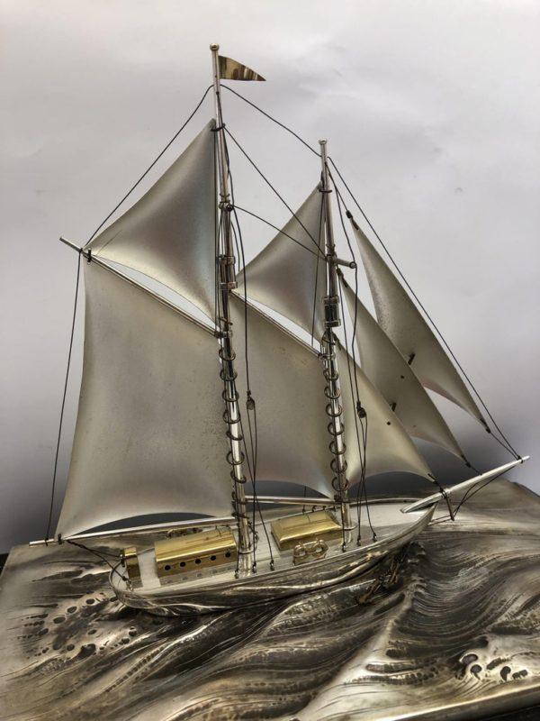 Silver Sailing Boat of Angus 5 close up