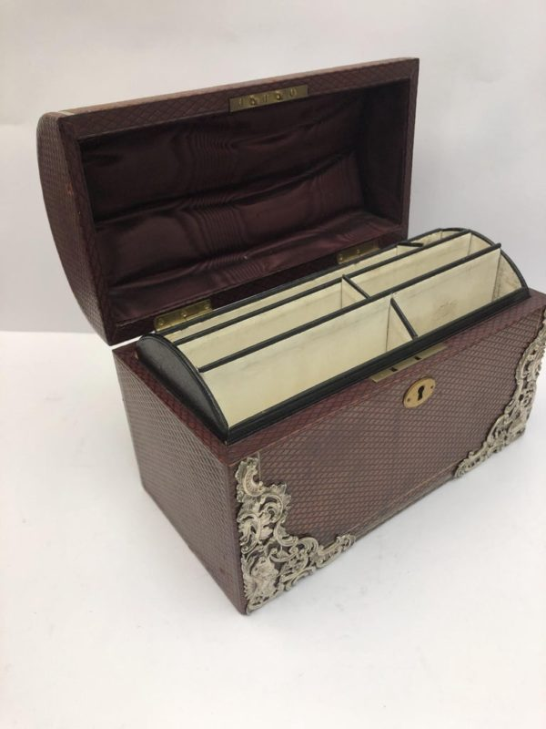 Brown Leather Stationary Box with Silver Decoration by Commyns, London - side view
