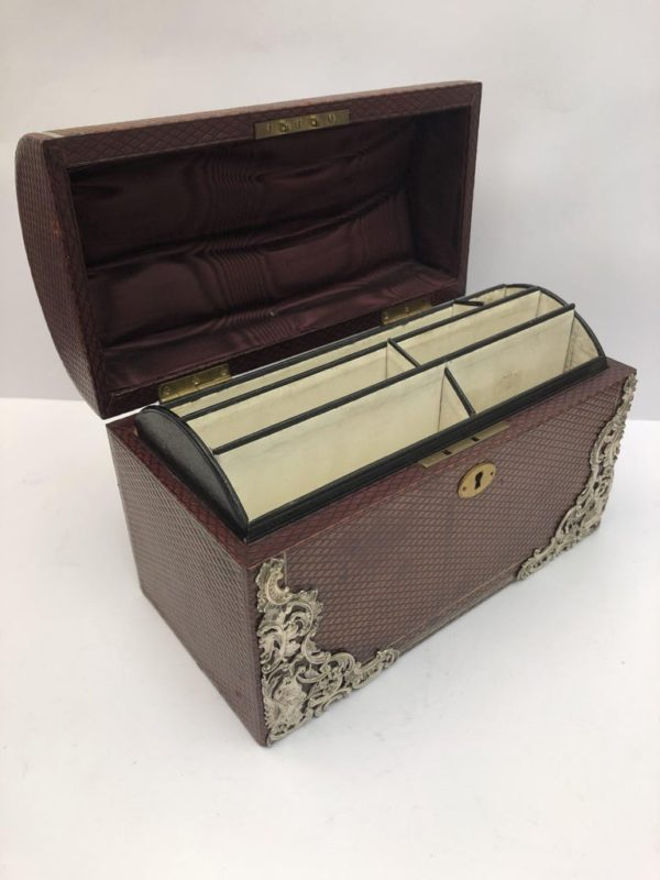 Brown Leather Stationary Box with Silver Decoration by Commyns, London - left view
