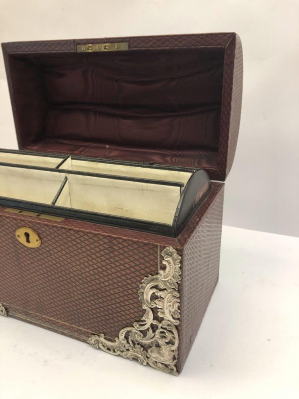 Brown Leather Stationary Box with Silver Decoration by Commyns, London - right view